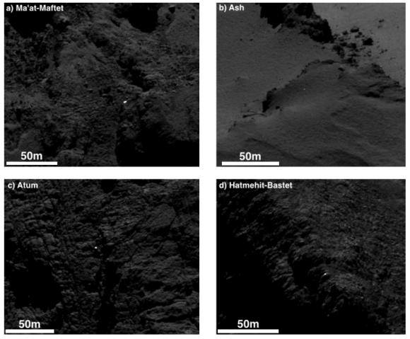 Ejemplos de depósitos aislados (SA/Rosetta/MPS for OSIRIS Team MPS/UPD/LAM/IAA/SSO/INTA/UPM/DASP/IDA).