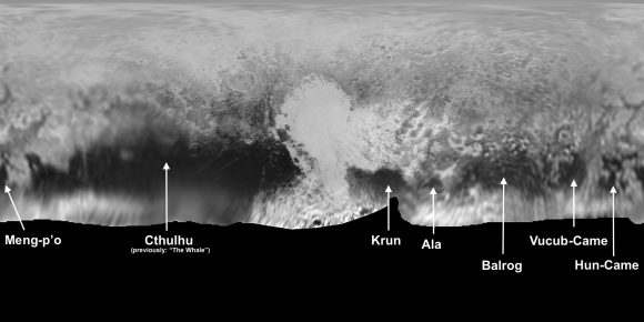 Nombres provisionales de algunas características de Plutón (NASA/APL-JHU).