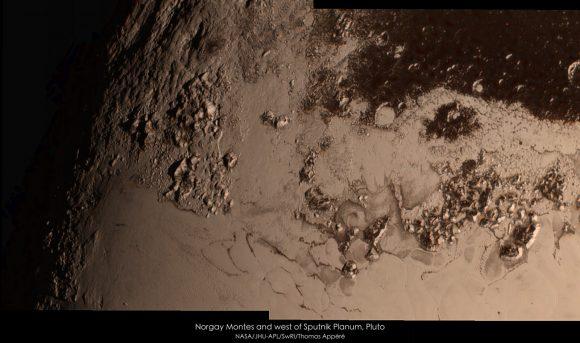 Zona de los Montes Norgay y Hillary (NASA/JHUAPL/SwRI/Thomas Appéré).