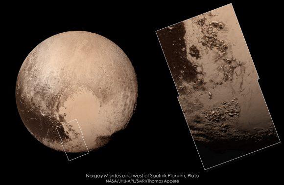 Detalle de los Montes Norgay y Hillary (NASA/JHUAPL/SwRI/Thomas Appéré).