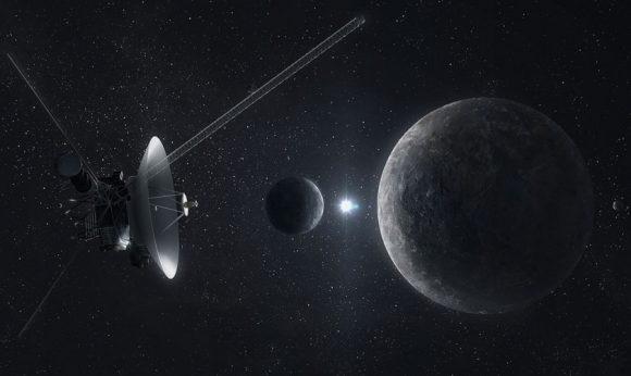 Recreación del encuentro de la Voyager 1 con Plutón y Caronte (Maciej Rebisz/The Planetary Society).