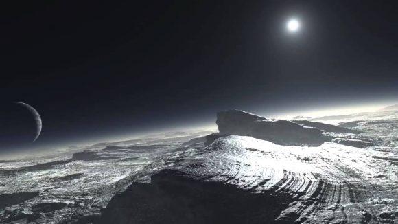 Recreación artística de la superficie de Plutón (ESO).