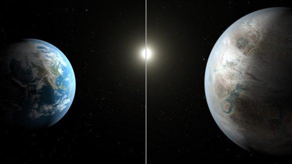 Recreación artística de Kepler-452b (derecha) comparado con la Tierra (NASA Ames/JPL-Caltech/T. Pyle).