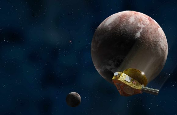 La sonda New Horizons sobrevolando por Plutón y Caronte (Ron Miller/Astronomy).