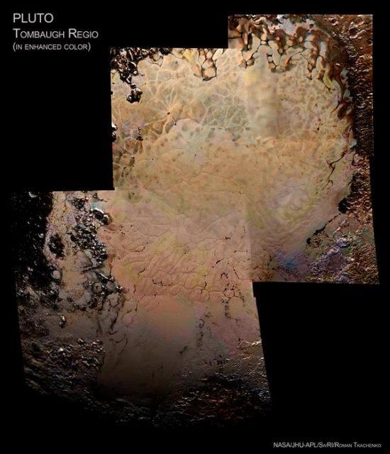 La Tombaugh Regio en color exagerado (NASA/JHUAPL/SwRI).
