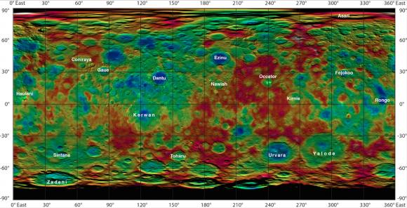 Mapa en relieve de Ceres con los nombres de algunos cráteres (NASA/JPL-Caltech/UCLA/MPS/DLR/IDA).