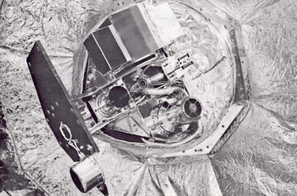 La plataforma de la Mariner 4 con la cámara de televisión (NASA/JPL).