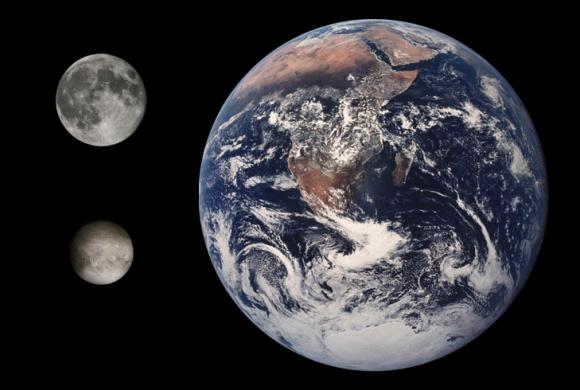 Comparativa entre Plutón, la Luna y la Tierra (NASA).