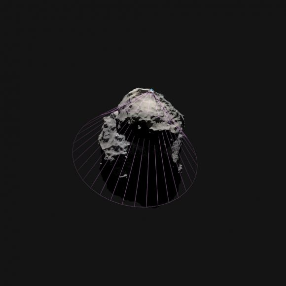Simulación del cono de comunicaciones de Philae (Mattias Malmer).