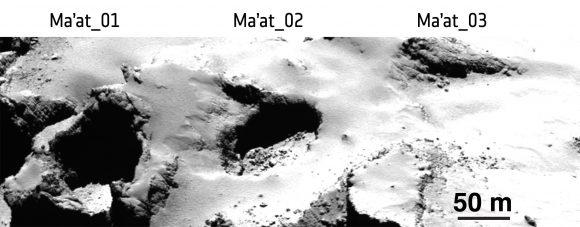 Distintas cavidades en la región de Ma'at. De izqu (ESA/Rosetta/MPS for OSIRIS Team MPS/UPD/LAM/IAA/SSO/INTA/UPM/DASP/IDA).