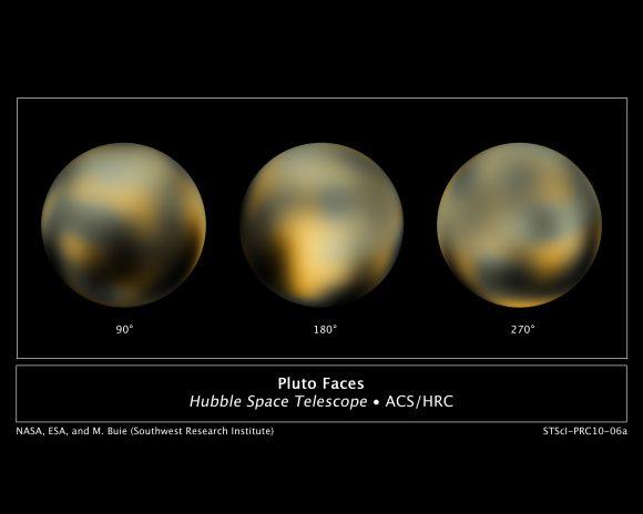 Mapa de Plutón a partir de imágenes del Hubble obtenidas entre 2002 y 2003 (NASA/ESA/STScI).