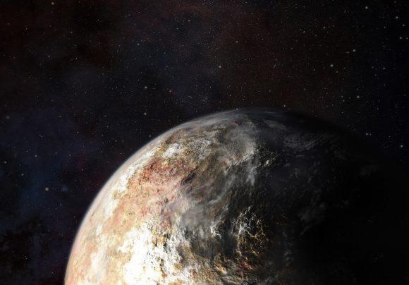 Representación artística de Plutón con nubes (NASA).