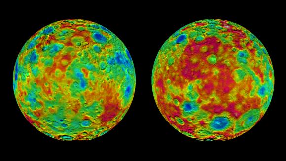 Relieve de Ceres. La diferencia entre el punto más alto y el más bajo es de unos 15 km (NASA/JPL-Caltech/UCLA/MPS/DLR/IDA).