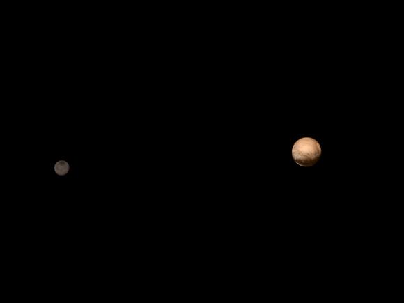 Plutón y Caronte vistos por LORRI el 8 de julio en falso color (NASA/APL-JHU/SwRI).