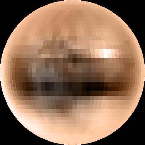 """""""Mapa"""" de Plutón realizado a partir de imágenes del telescopio Hubble (NASA/ESA/STScI)."""