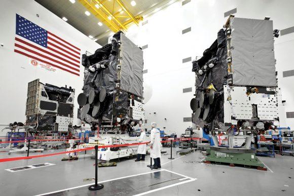 Satélites WGS antes del lanzamiento (Boeing).