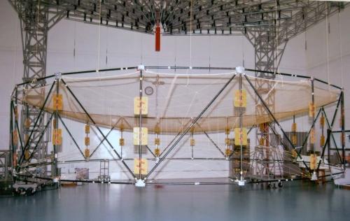 Antena desplegable del GSAT-6 (ISRO).