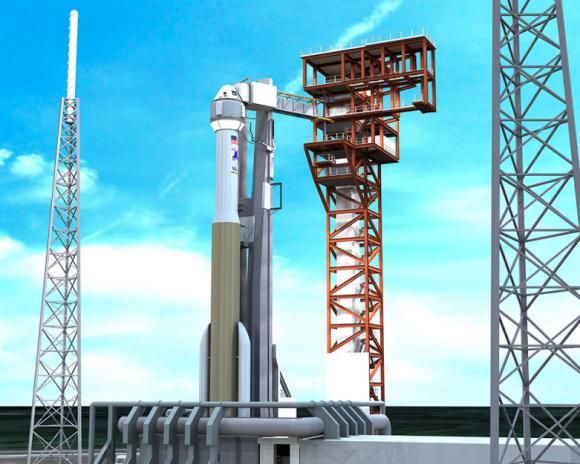 Otra vista de la CST-100 en la rampa de lanzamiento (ULA).