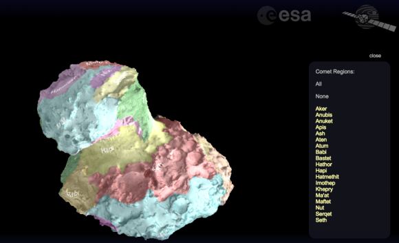 Modelo 3D interactivo del cometa (ESA).