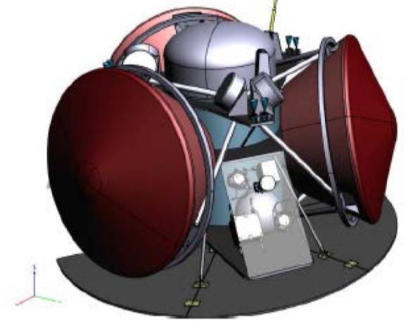Diseño de Airbus para la misión INSPIRE. Se aprecian las tres cápsulas de los aterrizadores (ESA/Airbus).