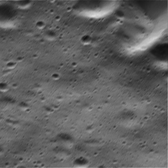 sas The wide-angle camera view has an image scale of about 105 feet (32 meters) per pixel; the narrow-angle camera view has an image scale of about 10 feet (3 meters) per pixel. Sunlight illuminates the scene from top. North on Dione is down. The views were acquired in visible light at an altitude of 334 miles (537 kilometers) above Dione.