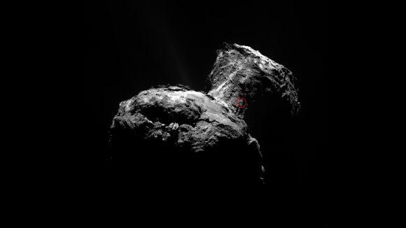 Zona del chorro (ESA/Rosetta/MPS for OSIRIS Team MPS/UPD/LAM/IAA/SSO/INTA/UPM/DASP/IDA).