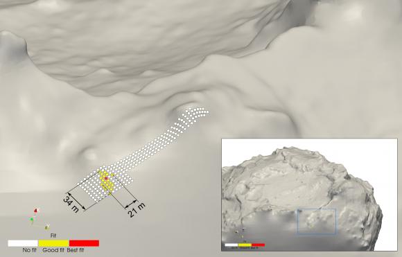 Posición final de PHILAE triangulada gracias al instrumento CONSERT (ESA/Rosetta/Philae/CONSERT).
