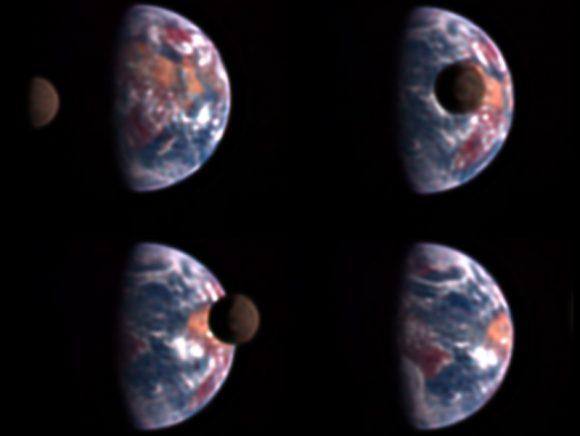 La Tierra y la cara oculta de la Luna vistas en 2008 por la sonda EPOXI (Deep Impact) (NASA).