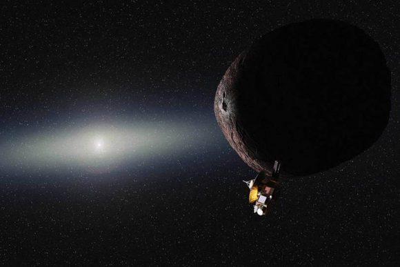 Recreación del sobrevuelo de un objeto del cinturón de Kuiper por la New Horizons (NASA/JHUAPL/SwRI/Alex Parker).