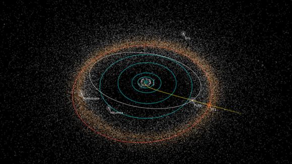 Trayectoria de la New Horizons y situación de PT1 (NASA/JHUAPL/SwRI/Alex Parker).