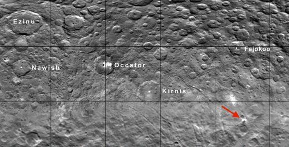 Situación de la montaña con respecto a otras zonas de Ceres (NASA/JPL-Caltech/UCLA/MPS/DLR/IDA).