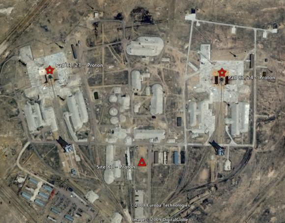 Vista del Área 81 con sus dos rampas (Google Earth).