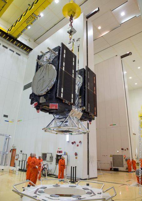 Los satélites FM5 y FM6 antes del lanzamiento (Arianespace).