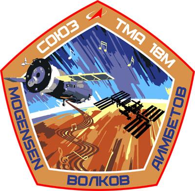 Emblema de la Soyuz TMA-18M. Los motivos musicales estaban dedicados a Sarah Brightman (NASA).