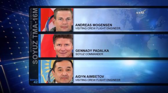 Los cosmonautas que regresaron en la Soyuz TMA-16M (NASA).
