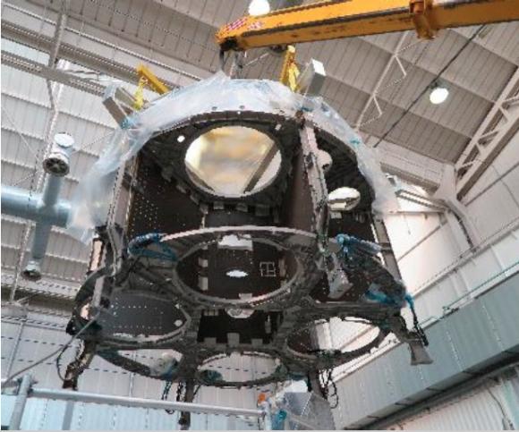 Modelo estructural del módulo de servicio de la Orión construido por la ESA en julio de 2015 (ESA).