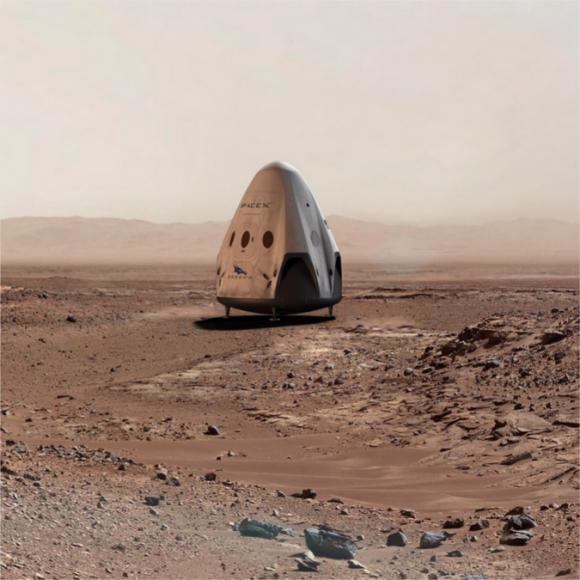 Una Dragon V2 en la superficie de Marte (SpaceX).