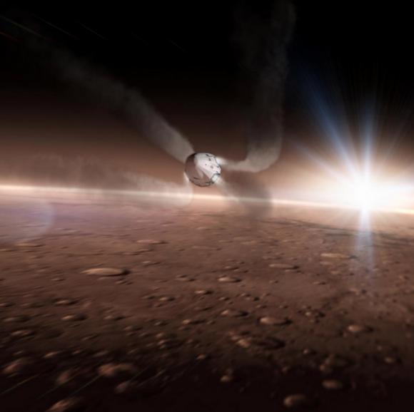 Una Red Dragon V2 durante la maniobra de retropropulsión supersónica en Marte (SpaceX).