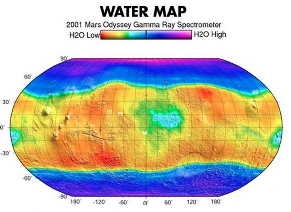 Concentración de hielo superficial en Marte medido por la sonda Mars Odyssey (NASA/JPL).