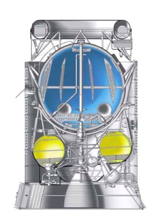El Blok DM-2, versión anterior al DM-03. En azul se ve el tanque esférico del oxígeno líquido y en amarillo el toroidal correspondiente al queroseno (RKK Energía).