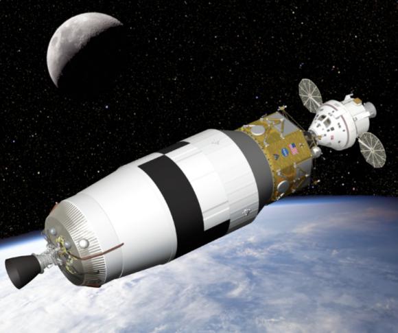 La nave Orión acoplada al Altair y a la etapa EDS (NASA).