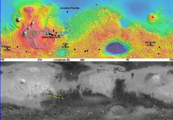 Distribución de RSL confirmadas en Marte (NASA).