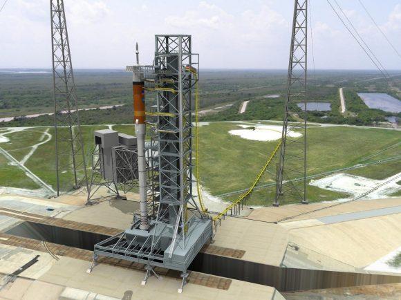 El Ares I con la Orión en la rampa. La tripulación habría usado una especie de montaña rusa para evacuar la rampa en caso de emergencia (NASA).