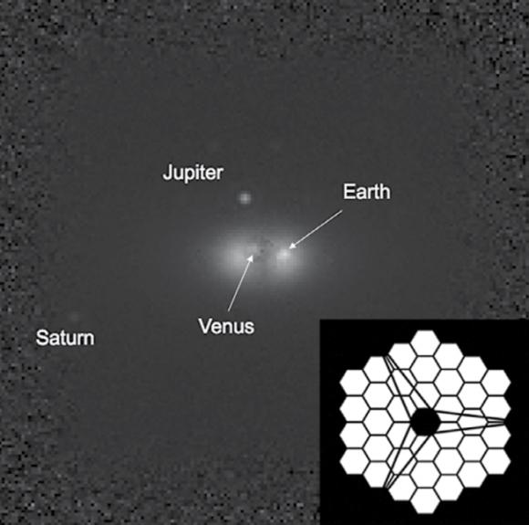 Así vería el HDST nuestro sistema solar en infrarrojo cercano a 44 años luz tras dos días de exposición (AURA).