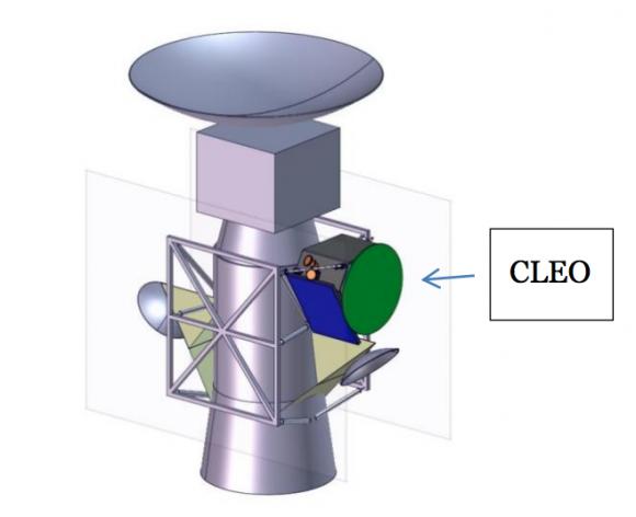 Configuración de lanzamiento de CLEO pegada a Europa Clipper (ESA).