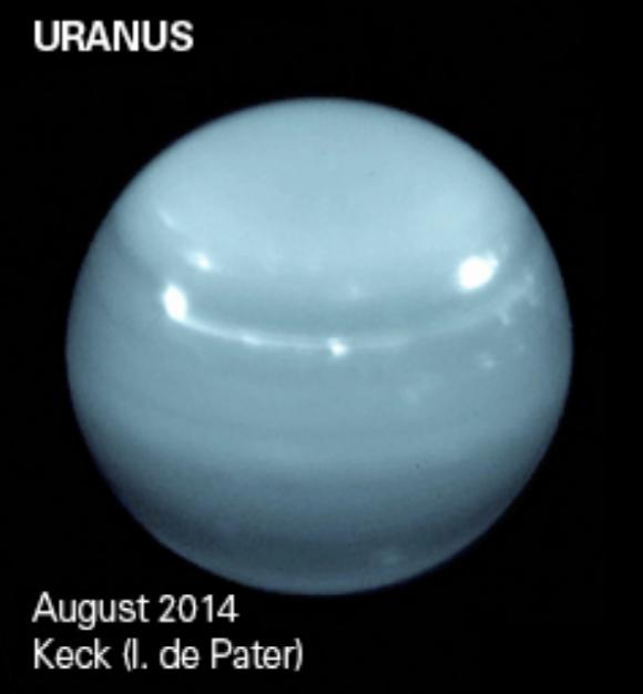 Imagen de Urano obtenida por el observatorio Keck en agosto de 2014 ().