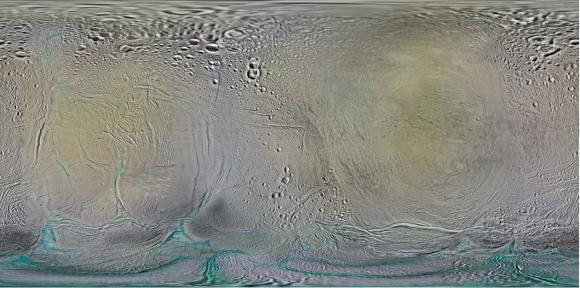 Mapas de las fracturas de Encélado (NASA).