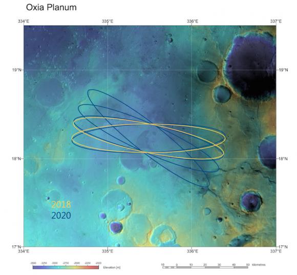 Oxia Planum, lugar de aterrizaje de ExoMars 2018 ().