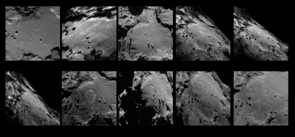El mosaico anterior de imágenes de OSIRIS sin anotaciones (ESA/Rosetta/MPS for OSIRIS Team MPS/UPD/LAM/IAA/SSO/INTA/UPM/DASP/IDA).