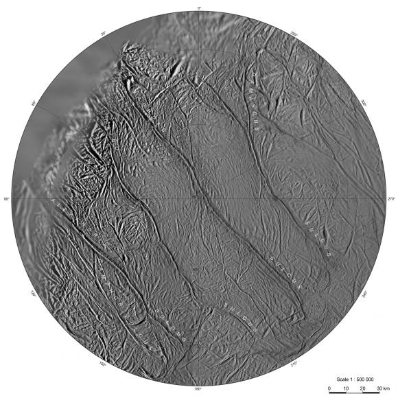 Las rayas de tigre del hemisferio sur de Encélado (NASA).